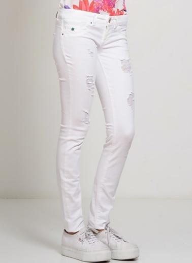 Only Only Beyaz Düşük Bel Denim Pantolon Beyaz